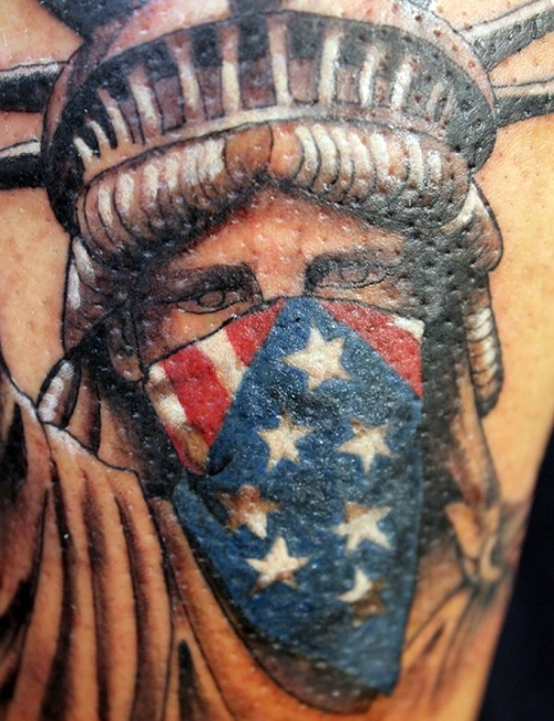 statue of liberty tattoo art cameo